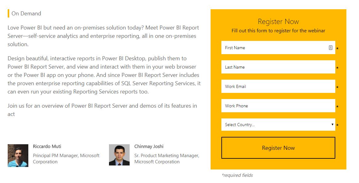 Webinar 6/28: Power BI Report Server: Self-service BI and enterprise reporting on-premises