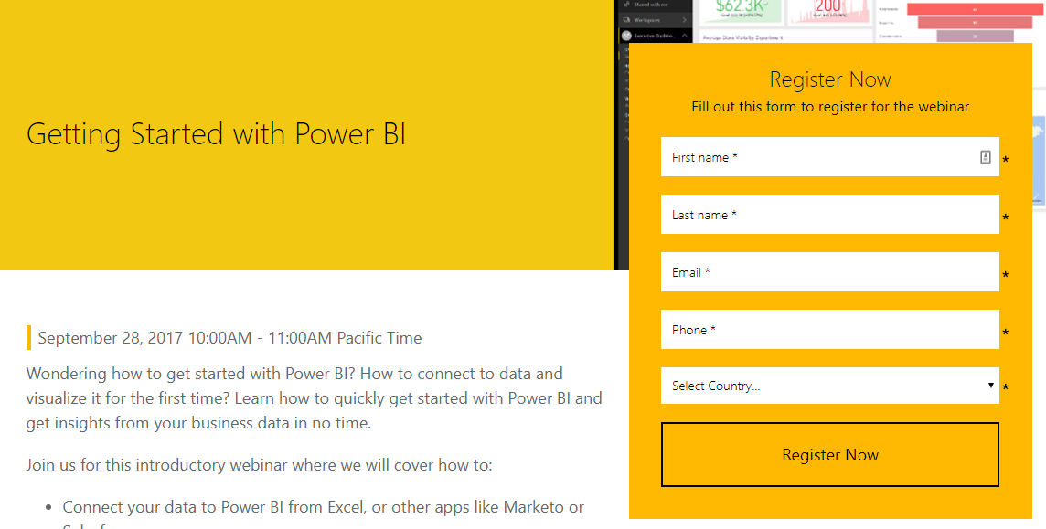 Getting Started with Power BI Webinar, Sept 28th